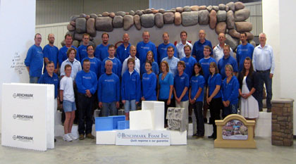 Benchmark Foam team with owners (middle row center: Alan D. Hendricks, Wendy Fransen & Tom Devine).