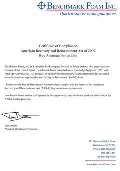 Benchmark Foam ARRA Certificate of Compliance