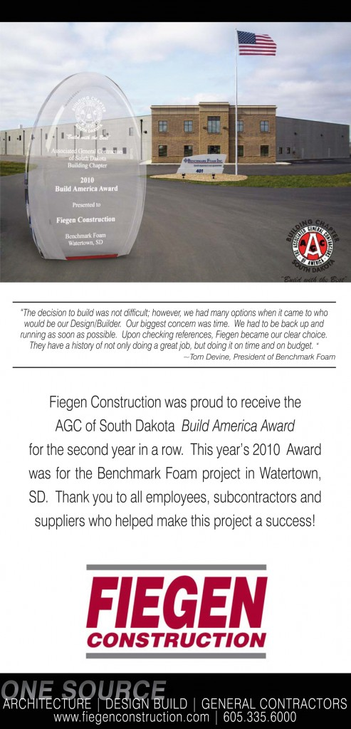 Fiegin Construction wins award for Benchmark Foam project