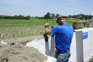 Placing pick points in ICF flood wall