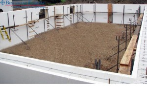Installed Benchmark Foam ICF insulating concrete forms ready for concrete pour