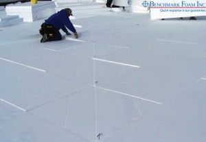 Installing EPS foam crickets in roofing insulation system