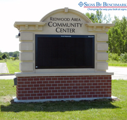 Installed integrated monument sign