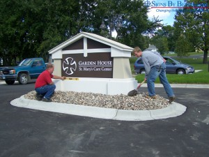 Installing Signs By Benchmark Mission Style Monument Sign