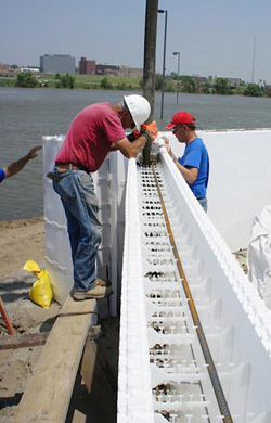 Benchmark Foam Insulated Concrete Forms (ICF) for flood wall