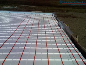 Installed Benchmark Foam Thermo-Snap in floor heat system insulating panels
