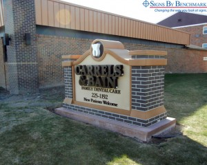 Custom Monument Sign with Reverse Lit Channel Letters & Logo