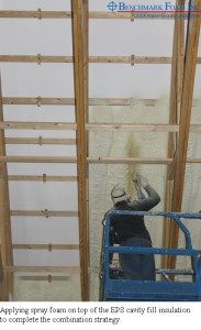 Applying spray foam on top of EPS cavity fill insulation