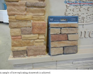 Sample of how stone is replicated for faux stacked stone finish