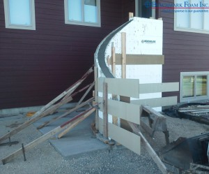 Exterior curved stairs created using ICF Insulated Concrete Forms