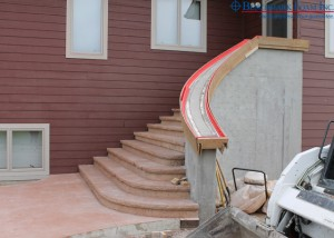 Benchmark Foam Insulating Concrete Forms ICF curved exterior stairs with geofoam steps