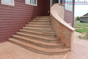 Installed exterior ICF curved wall & geofoam stairs