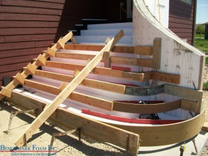 Installing Benchmark Foam geofoam as curved stairs & risers