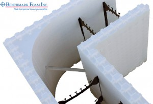 Benchmark Foam one-piece ICF corner with tough embedded corner tie and wider nailing surface