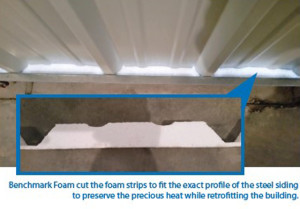Foam insulating strips for steel siding gaps